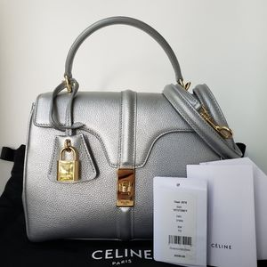 $4550 Céline Grained Calfskin Medium 16 bag